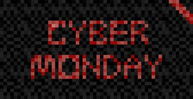 Cyber Monday banner. Day of sale in online stores. Pixel Flat Illustration