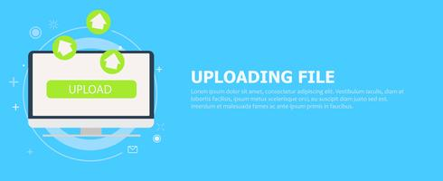 Upload from your computer banner. Green Arrows coming from the monitor. Vector flat illustration