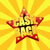 Cashback shares. Discounts on sites, bargains. Star light text. Vector illustration