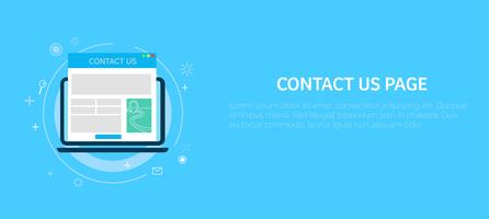 Contact us page in computer. Banner. Vector flat illustration