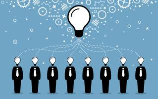 Business people combining their ideas, minds, and thoughts to create a bigger and better idea. vector