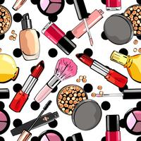 Seamless pattern with makeup products. Cosmetics.