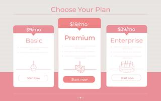 """Choose your Plan"" Different Categories of pricing"