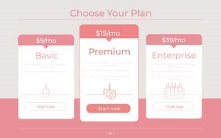 """""""Escolha o seu plano"""" Categorias diferentes de preços"""