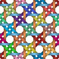 Kleurrijke mand en vierkante naadloze achtergrond.