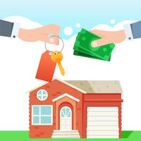 Cambio de dinero por las llaves de la casa. Bienes raíces. Mano con pago en efectivo. ilustración plana