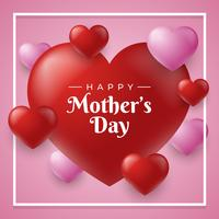 Lycklig Mother Day Hearts Card Bakgrund Vector Mall