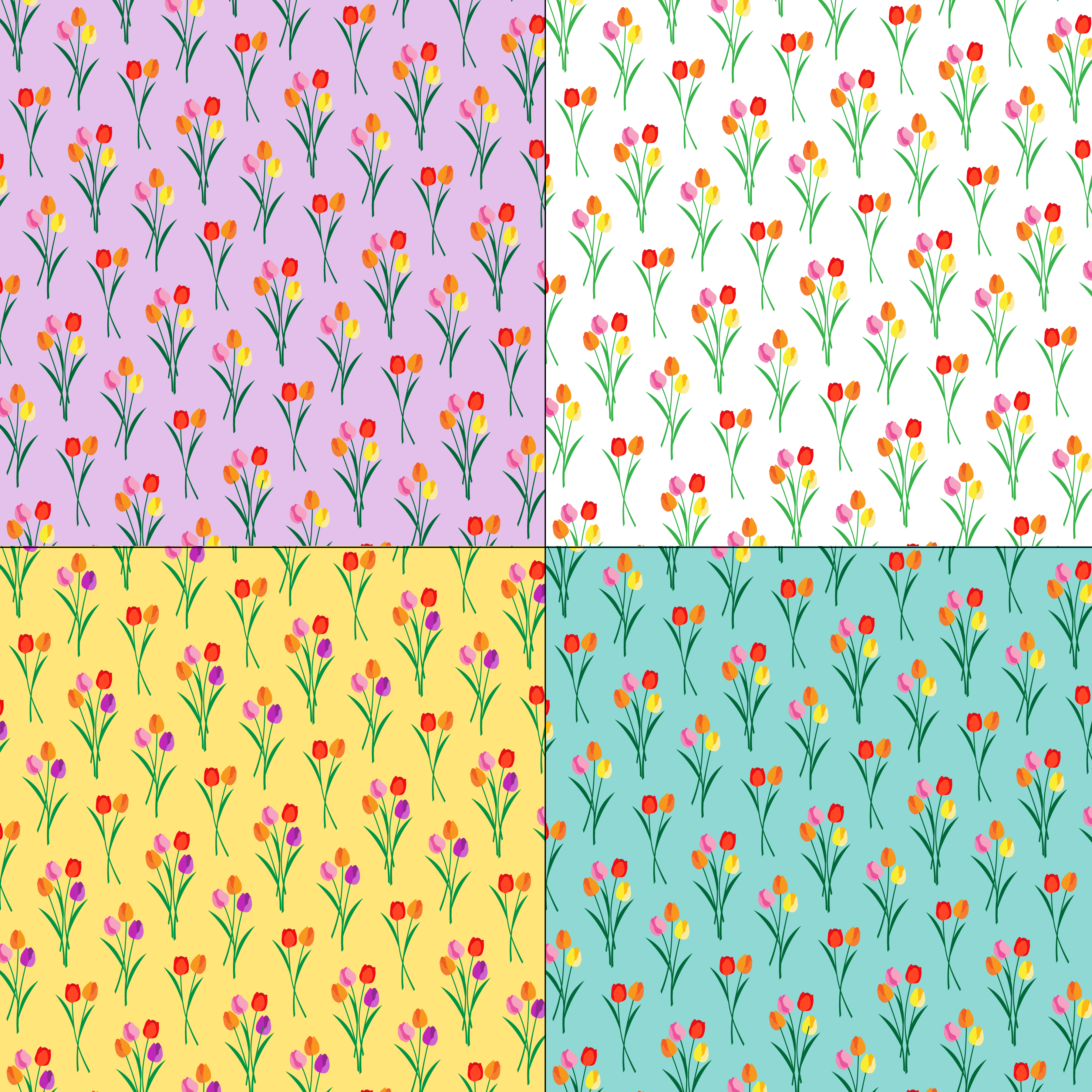 Tulip Bouquets Floral Patterns On Pastel Backgrounds Download