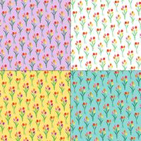 tulip bouquets floral patterns on pastel backgrounds vector