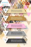Infographics design on doodle abstract background in pastel tone.
