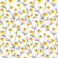 Abstract yellow flowers seamless background. vector