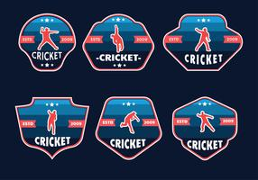 Pack vecteur de badges joueur joueur de cricket