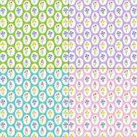 spring flower patterns on colorful backgrounds vector