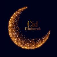 eid mubarak design de lua de brilho dourado