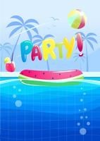 Hello summer party banner design. Swimming pool in the aquapark. Vector cartoon illustration