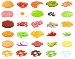Designer de hambúrguer de ingredientes. Construtor de alimentos e carne e legumes e queijo e peixe