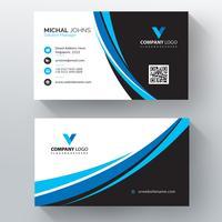 Modèle de carte de visite pour le vecteur ondulé bleu