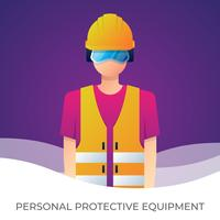 Worker With Personal Protective Equipment And Safety Illustration.  vector