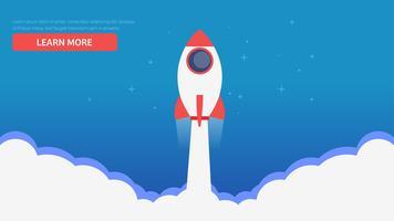Página do site. Um foguete que voa fora das nuvens. Aprenda mais bandeira. Ilustração vetorial plana