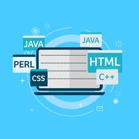 Programmiercode auf Laptop-Banner. Flache Vektorillustration