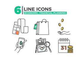 Economic icons, financial planning app. Vector line art illustration