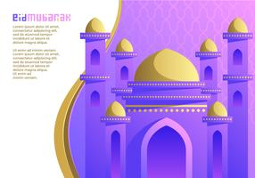 Purple Mosque Ied Mubarak Vector