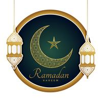 decorative moon with lamps for ramadan kareem
