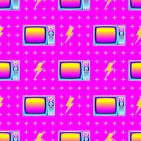 Retro Seamless Pattern Old TV