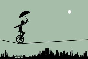Person riding a unicycle and balancing it with an umbrella going through a tightrope rope with cityscape silhouette at the background.