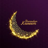 beautiful shiny sparkle golden decorative moon for ramadan kareem