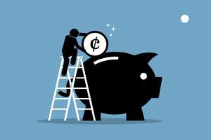 Uomo salendo su una scala e mettendo i soldi in un grande salvadanaio.