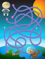 Kid astronaut puzzle game vector