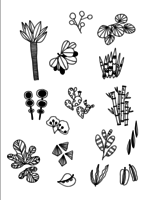 Set of Doodle Leaves hand draw vector