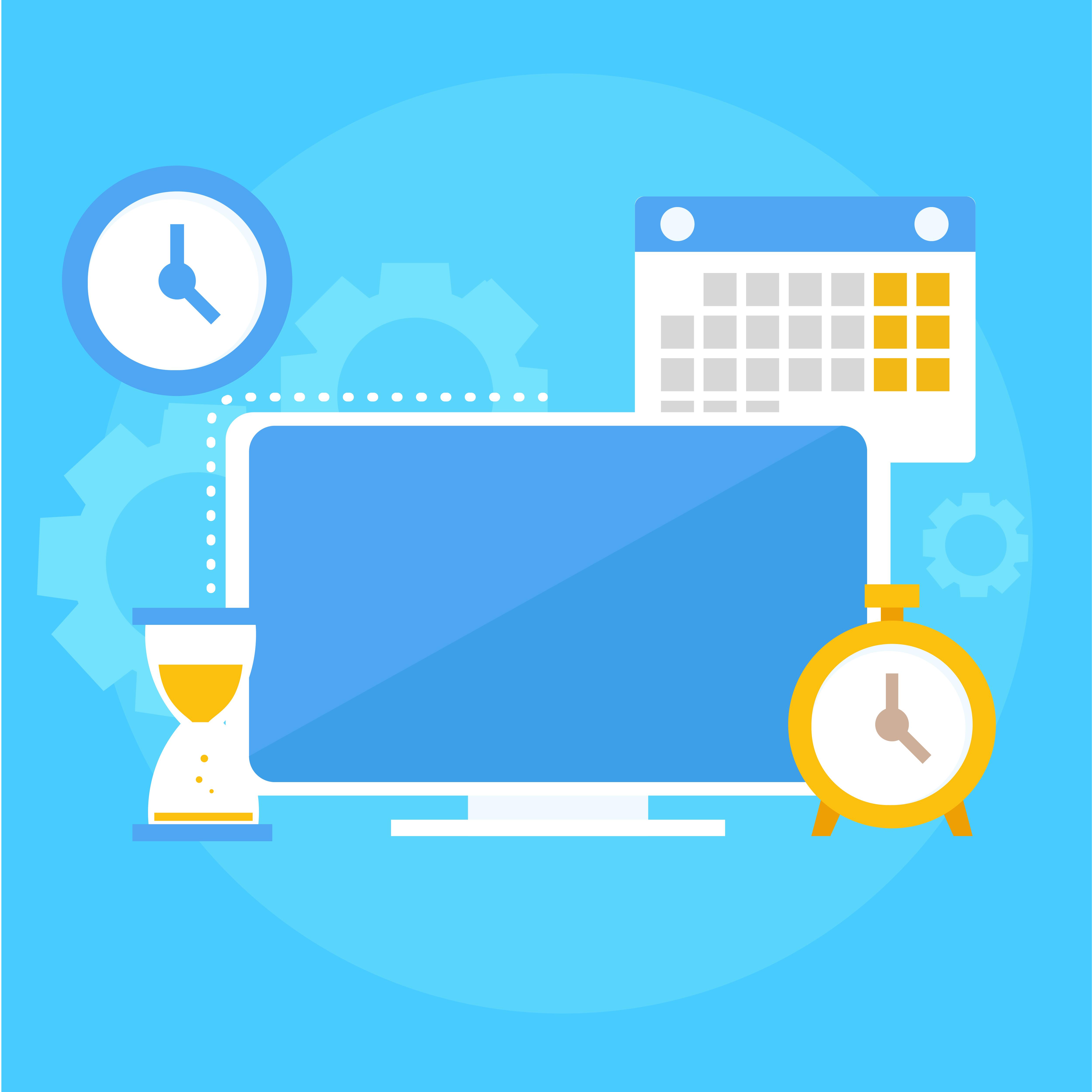 Time Management Banner Computer Calendar Alarm Clock Hourglass Vector Flat Illustration Download Free Vectors Clipart Graphics Vector Art