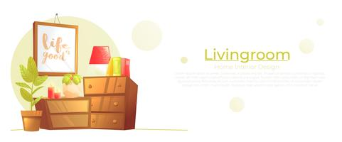 Living room interior design concept banner. Furniture from the room. Vector cartoon illustration