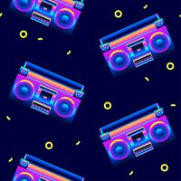 Retro Seamless Pattern Boombox