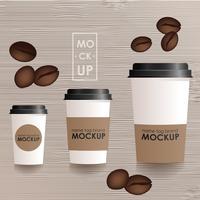 Tamanhos e tipo diferentes de modelo do copo de café. Fundo gradiente. conceito realista