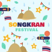 Water Songkran Festival Thailand Vector