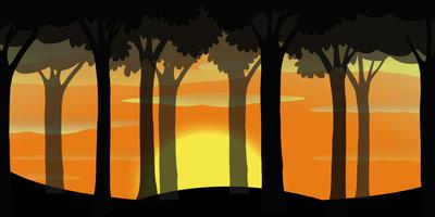 Silhouette scene of forest at sunset vector