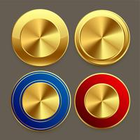 Conjunto de botones circulares de metal dorado de primera calidad.