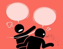 Ein Mann schlägt seinen Freund dafür, dass er Unsinn redet.