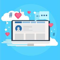 Social media marketing banner. Computer with likes, cloud, comment, hashtags. Vector flat illustration