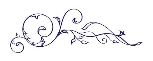 Weinlesekalligraphie Flourish-Vektorelement. Teiler- oder Eckendesign für Hochzeit und Valentinstag, Geburtstagsgrußkarte und Web, Öko-Logo