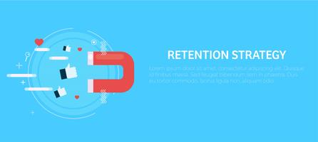 Retention strategy. Magnet attracts the likes. Vector flat illustration