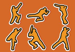 Cricket Player Sticker Vector Pack