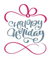Felices fiestas texto de vector de letras de caligrafía. Para la página de lista de diseño de plantilla de arte, estilo de folleto de maqueta, portada de banner, folleto de impresión de folletos, póster