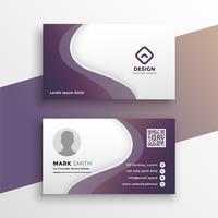 plantilla de diseño de tarjeta de visita ondulada púrpura