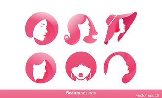 Set of 6 pink logo for beauty salons, hairdressers. Stylists gradient logotype. Vector flat ilustration