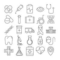 Set of 25 line icons of medical theme vector