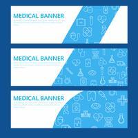 Insegna orizzontale blu con le icone mediche e posto per testo Illustrazione piana di vettore